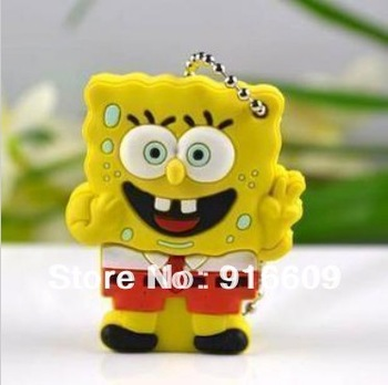 M-33 Free Shipping Wholesale Cartoon Cute SpongeBob Neptune4GB 8GB 16GB 32GB 64GB USB 2.0 Flash Memory Stick Drive Thumb/Car/Pen