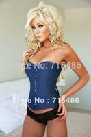 Newly Fashion S,M,L,XL size Free Shipping Blue Denim Underbust Corset