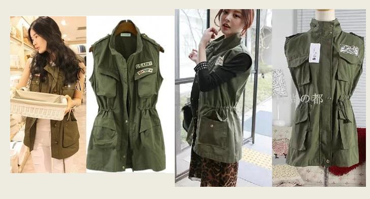 Ince bel apolet askeri rüzgar yelek kadın ordu yeşil yelek giyim