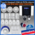 40 Zones LCD Touch Keypad PSTN and GSM 850/900/1800/1900Mhz Wireless Home Security Burglar Intruder Alarm System iHome328MGT10