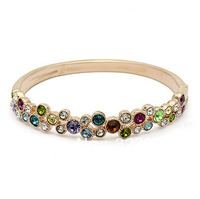 Glamorous Bling Bangle Made with Colorful Austria Crystal Rhinestone for Womens Ladies Party Birthday Wedding Anniversary Gift