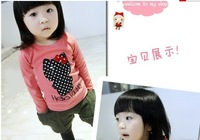 baby girls cute cartoon Hello kitty cat printed styles Regular sleeves T-shirt pattern fleeces 2 colors free shipping wholesale