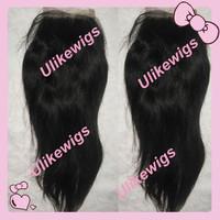 "12"" #1b Silky Straight Cambodian Virgin Hair Top Closure (4""x4"")"