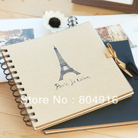 FIRST LINE Fashion Stationery Spiral Binding Paris Towel DIY Photo Album Notebook with photo corner sticker 2 designs ST0288