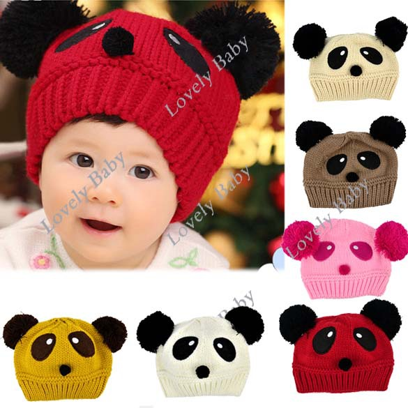 Lovely cute Panda Pattern Dual Ball Toddler Baby hat Girls/Boys Wool Sweater Cap knitted Hat Free Shipping 8189(China (Mainland))