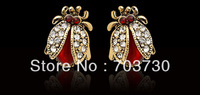 New Arrival Wholesale Insect Stud Earrings With Shining Rhinestone and Red Opal For Women,Girls,Lovers Gift Free Shipping By DHL
