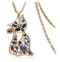Lovely Cat Pendant Necklace Alloy with Crystals Animal Jewelry  Special Gift Free Shipping