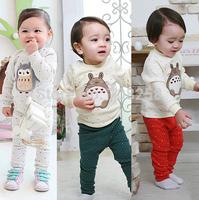 3sets/lot-Baby Boys Girls Little Mouse Winter Warm Thicken Pajamas Kids Cartoon Sleep Night wear Children Toddler Sleep suit 775