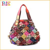 Fashion 2014 New Bohemia 100% Genuine Leather Woman Bags Hobo Patchwork Floral Handbags Ladies Shoulder Tote Bag PH66