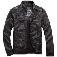 Free Shipping Wholesale Popular Style Men Faux Leather Biker Coat, Motorcycle Zipper Jacket,  M--5XL