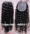 Super Quality! Fast Shipping! Natural Black Color Kinky Curly Weave 100% Brazilian Virgin Hair  Silk Top Lace Closure (4x4'')