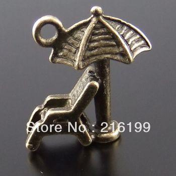 Atq Style Bronze Tone Alloy 3D Beach Chair Umbrella Pendant Charm 30pcs 02203