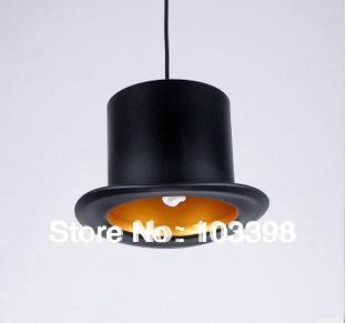 design 110v 220v e27 lamp holder Jeeves & Wooster Top Hat Pendant Lights aluminum hat light for home Outside Black Inside Golden(China (Mainland))