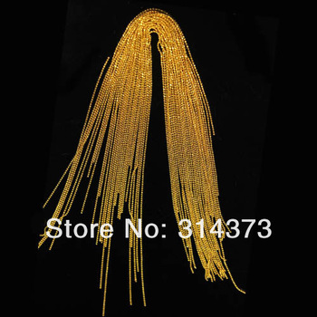 1 Pack Trim Craft Golden Plated Metal Beads Line Chains Salon Acrylic Nail Art Tips 3D Design DIY Decoration