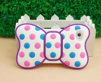 New arrival fashion women's design Minnie Bow 3D Silicon e Soft Cover Back Case for iPhone 4 4G 4S  ST71 wholesale free shipping