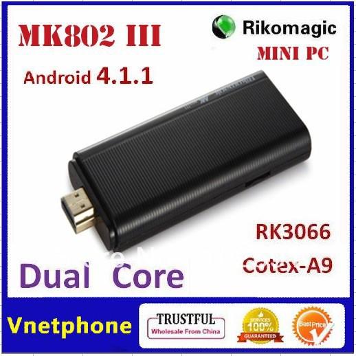2012 New Arrival Hot Sale Dual Core 1GB RAM+4GB ROM Android 4.1 Mini PC RK3066 1.6GHz Rikomagic Cotex A9 MK802 III Smart TV Box(China (Mainland))