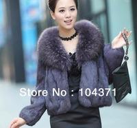 (#11-VA1701)free shipping women's/lady's rabbit fur coat with raccoon dog fur collar/hare fur jacket/winter coat/wholesale