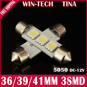Free Shipping 10pcs/lot 41mm 3 SMD 5050 LED SMD Festoon Dome Light 12V White LED Reading Light Lamp