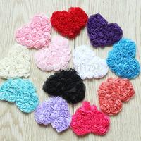 "Fedex Free shipping 2.5"" chiffon heart,chiffon rose heart trim(10PCS/color 12 colors IN STOCK)"
