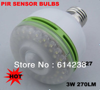 Free shipping Infrared Sensor led lamp 3W E27 White High Power Spot LED Light Bulb Human Motion Sensor LED lamp