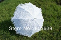 Vintage Battenberg Lace Parasol Sun Umbrella in Ivory & White with Falbala Handmade for Wedding Free Shipping High Quality