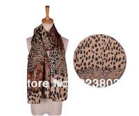 2012 HOT SALE Womens Fashion Larger Animal Print Chiffon Shawl Leopard Scarf Voile Wrap Stole Pashimina Free Shipping