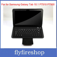 10pcs/lot Leather Bluetooth Keyboard Case Cover for Samsung Galaxy Tab 10.1 P7510 P7500, Free Shipping
