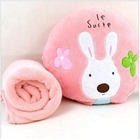 Free shipping The new pink sugar rabbit round hold pillow open is super soft coral fleece blankets