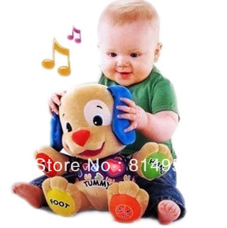 Animal Dog Multi-fonction Music learning soft dog Red heart Plush Stuffed Toys Dolls Baby Educational Toys Children Gift(China (Mainland))