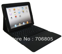 Free shipping 10&#39;&#39; Black  Wireless Bluetooth Keyboard Leather Case for New iPad1/2/3+ iPhone 4+PC
