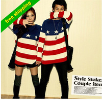 Higi Quality 2013 American flag sweater women/ men fashion long sleeve pullovers ladies casual star red white stripes sweaters