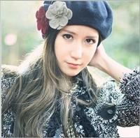 Free shipping fashion flower Wool Beret Hat Winter Warm Hat women cap