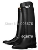ON SALE genuine leather women BRAND DESIGN FLAT fashion knee high BLACK GOOD QUALITY boot