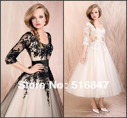 2013 Stock New Beautiful Sleeves Wedding Prom Dresses Bridal Gown/Evening Dresses SZ :6-16 Free Shipping(China (Mainland))