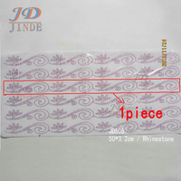 19.7 Inches 30pcs/lot Hotfix Rhinestone Design Flower Pattern Motif Iron On Garment Lace Decoration