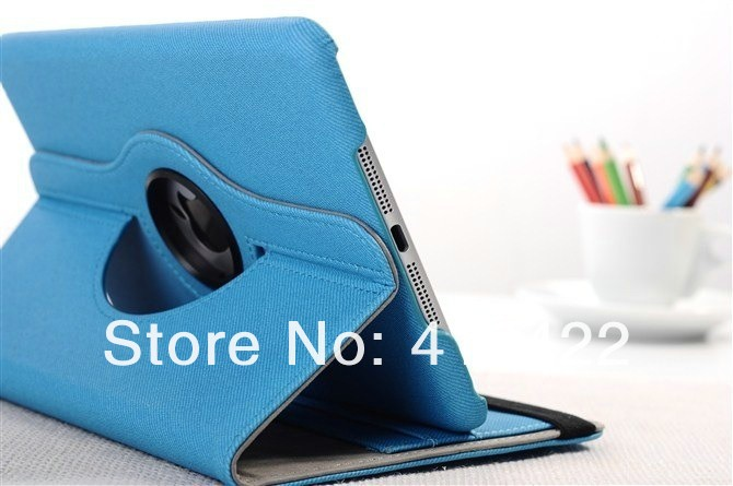 10Colors Free Fast Shipping 360 Roating Twil Smart Leather Case Skin Cover for iPad Mini card holder+bill pen slot 30pcs/lot(China (Mainland))