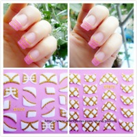 wholesale latest excellent 3D Velvet Powder nail sticker wraps French tip Seal nail art patch cover 500pks/lot free EMS shipping