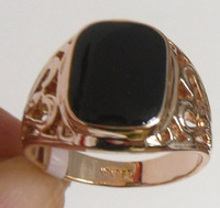 R969.Men's Ring. Black Onyx  18k Rose Gold Plated  Men's Ring ;  Free Shipping; Provide tracking.