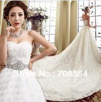Hot Selling~~~Women's Elegant Tieback  Luxury Long Trailing CZ Diamond Decorate Waist Wedding Dress 487