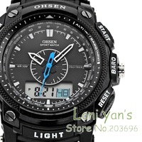 2014 OHSEN   LCD Dual Core Watch Mens Sport Date Day Stopwatch Black Rubber Band Wristwatch Dive Watches