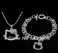 Free Shipping Crystal Hello Kitty set Bracelet Necklace set HS-34 Girls jewelry sets Blue bow 3set/lot+free jewelry gift bags