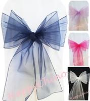 100PCS Navy Banquet Pageant Sashes Ribbons Organza Chair Sashes Chair Cover Bows Decoration Sashes