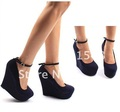 Freeshipping New Arrival HOT Brand sexy fashion women's genuine Platform high heels Wedges Buckle shoes Wedge Pumps ML005-2