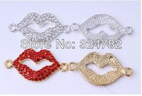 30pcs Mixed Crystal Rhinestones Curved Side Ways Lip Bracelet Connector Charm Beads Jewelry findings