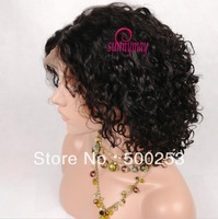 Sunnymay Middle Parting Curly Indian Remy Human Hair Front Lace Wigs