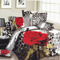 leopard rose print wedding 4pc bedding set 3d bed Linen bedsheet cotton Duvet/Quilt cover and pillow sham sets Queen King size
