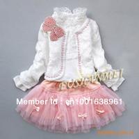 retail girls lace suit children coat+ t-shirt + skirt Three-piece skirt clothes set spring autumn wear sweet garment  LJ021
