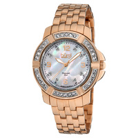 Free Shipping Burgi Women's BUR069RG Stainless Steel Diamond Bracelet Watch
