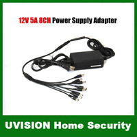 Security 8CH AC 100-240V 2A Power Supply Adapter 8 Port DC 12V Pigtail for CCTV Camera free shipping
