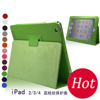 DHL Free Shipping 20PCS/LOT Litchi Leather Case Finishing PU Folding Leather Case for iPad 2 & 3 for the new iPad 3 4 Case
